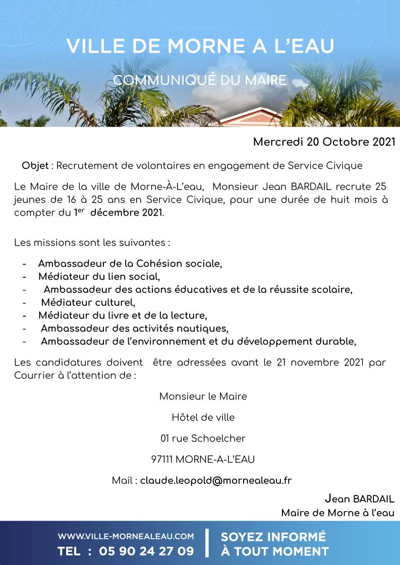 COMMUNIQUE DU MAIRE ; RECRUTEMENT SERVICE CIVIQUE